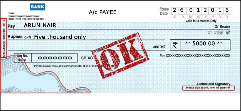 profession and error-free printed cheques